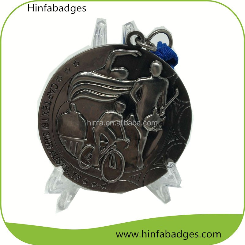 Fashion Hot Sale Brass Sport Medal with customized logo ribbon
