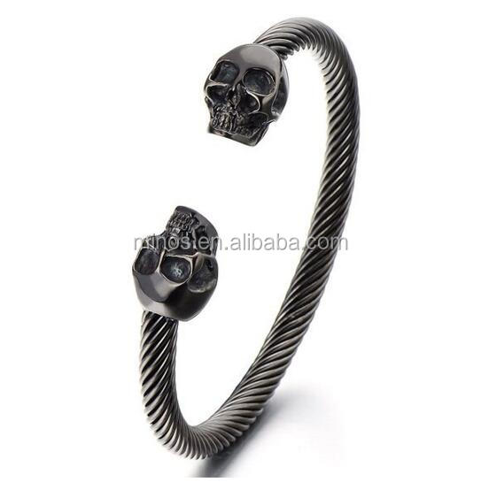 Unique Elastic Adjustable Mens Black Skull Cuff Bangle Stainless Steel Twisted Cable Bracelet Polished