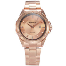 Rose Gold Stainless Steel Case Auto Date Quartz Analog Steel Band Men Bussiness Watch