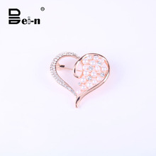 rose gold fashion pearl heart brooch pins