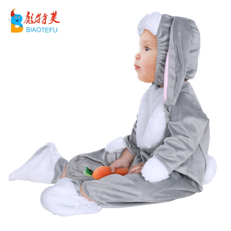 high quality baby kids animal grey rabbit cosplay jumpsuit costumes