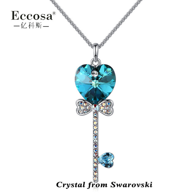 Latest Necklace Design Heart Cross Key Pendant Necklace With Blue Crystal From Swarovski
