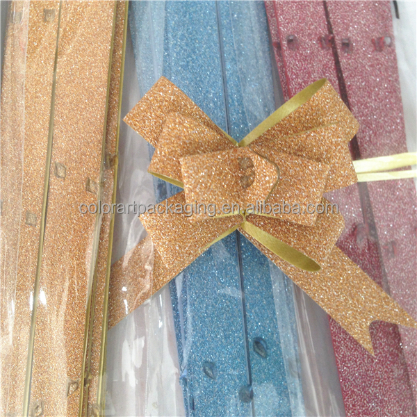 Glitter Film Ribbon Butterfly Pull Bow For Decoration