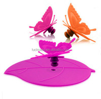 New Fashion Butterfly Shape Silicone Food Grade Cup Lid Cover for Cup
