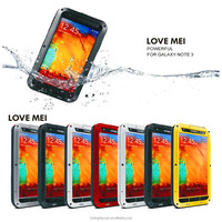 new products 2016 love mei Metal Shockproof Waterproof Gorilla Glass Case For Samsung Galaxy note 3