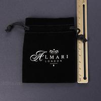 sinicline new design white logo custom black velvet jewellery bag