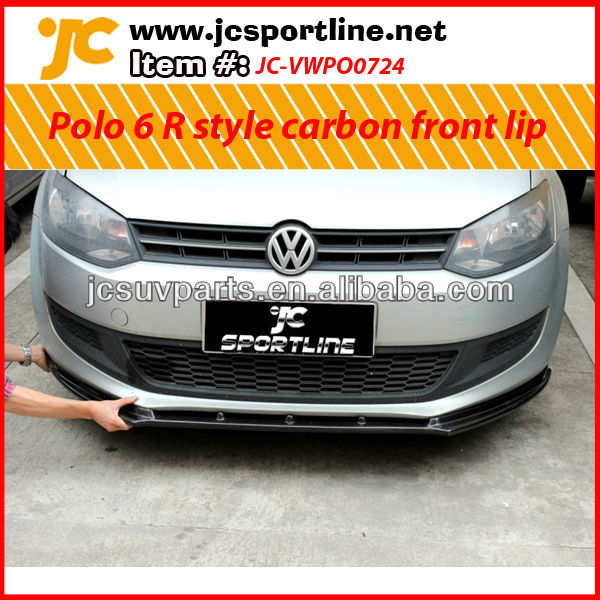 For 2011 up VW Polo R style carbon fiber front bumper lip