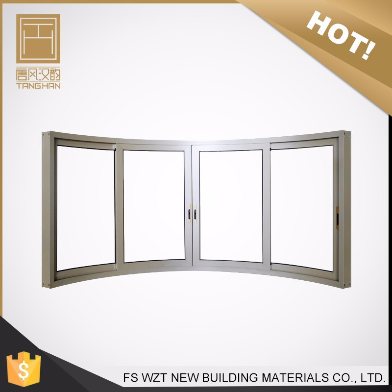Hot sale office double glazed tempered large curved aluminium frame sliding glass window