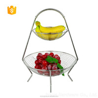 double tiers stainless steel fruit basket