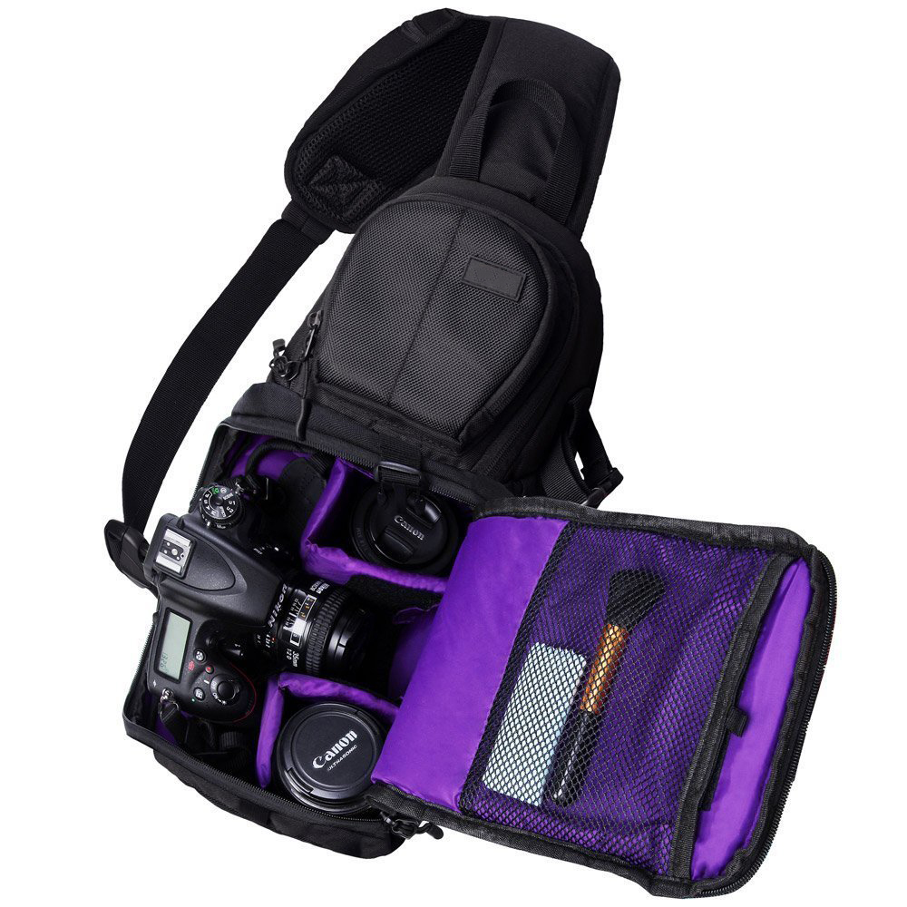 Multifunction Travel Sling Style with Padded Cross body Strap Camera Bag Backpack for DSLR & Mirrorless Nikon,Canon