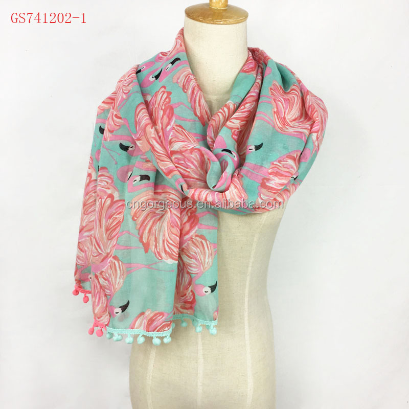 Very fashion 100% Viscose flamingo <strong>scarf</strong> with pom poms