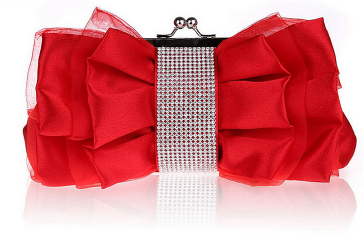 New Unique Design Fashion Ladies Party Clutch Purse Soft Red Silk Small Handbag Bowknot Diamond Luxury Fancy Evening Bag