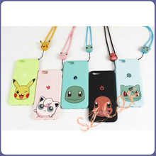 Hot Selling Mobile Phone Cartoon Pikachu Pokemon Go Plus Lanyard Case for iPhone 6 6s plus