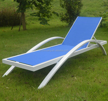 Outdoor beach furniture metal sun lounger blue fabric chaise lounge