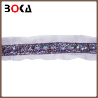 Fashion handmade sequins and beads lace trim
