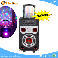 8inch promotion portable battery powered trolley speakers with bluetooth ,wireless MIC ,USB/SD/FM/Remote