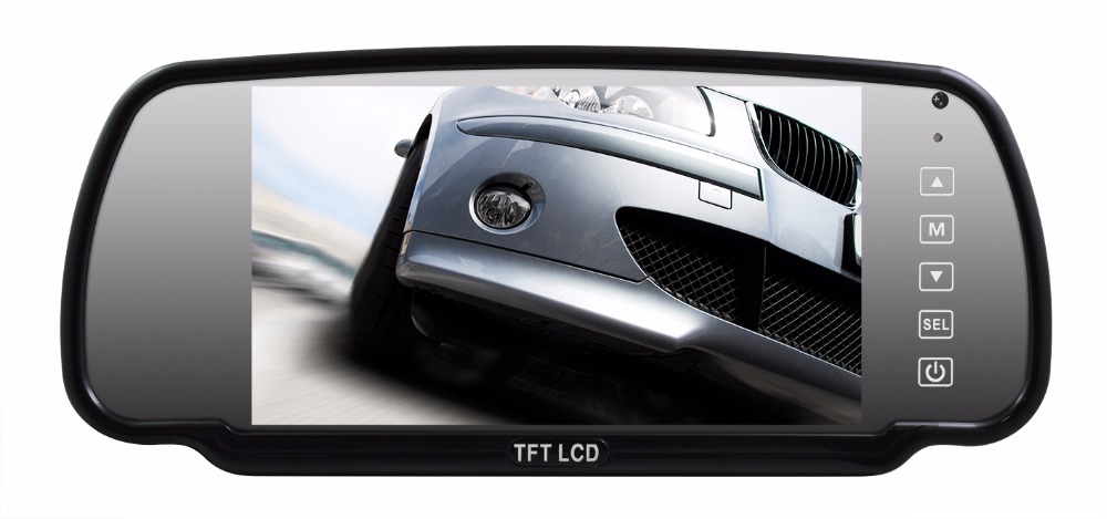 "MM-CMM7388A, 7"" car mirror monitor with 3 video inputs & remote"