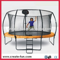 CreateFun CE 14ft outdoor fiber rod trampoline with basketball hoops and shoe bags