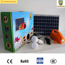 2016 hot sale 12w solar power system home with mobile phone charger and flashlight function