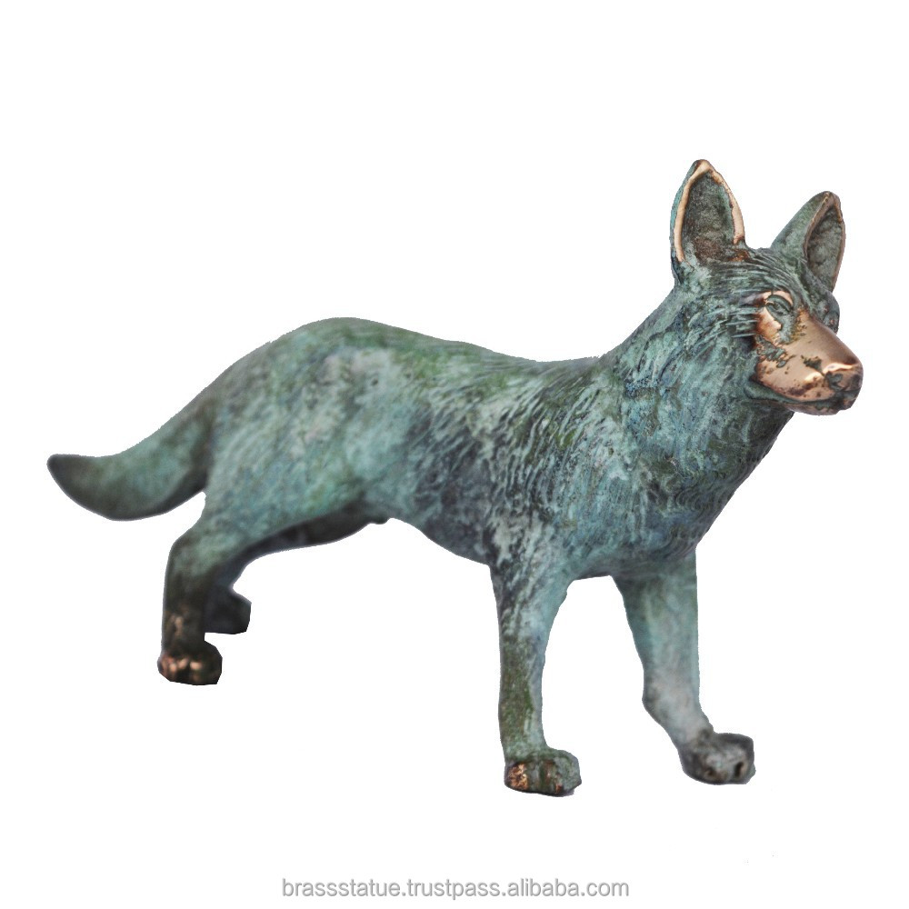 Bronze Standing fox - metal Statue Handmade craft Figure unique for gift
