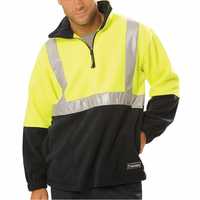 safety hi vis Factory price! half zip men's fleece jumpers with reflective tape