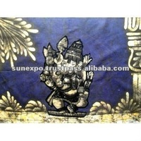 "Indian Elephant Face God Lord Ganesh Ganesha Cotton Fabric Tapestry Batik Painting Wall Hanging 30"" X 20"""