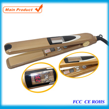 Hot Professional LED Flat Iron Hair Straightener Gold New