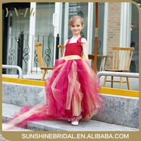 2016 New Arrival Little Girl Ball Gown Scoop Appliqued Glitz Pageant Floor Length Flower Girls Dresses For Children Prom Gown