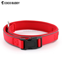 Black Plastic Quick Release Safety Buckle Neoprene Padded Nylon Pet Collars for Dogs