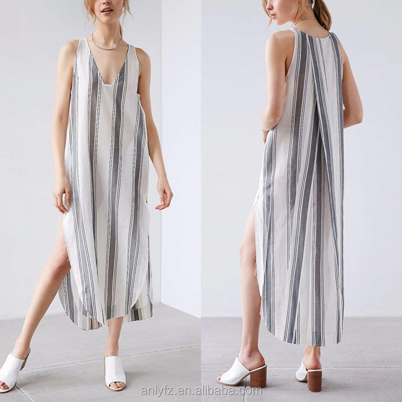 wholesale sleeveless women new fashion design v-neck striped printing long maxi casual dresses with high slit for women apparel