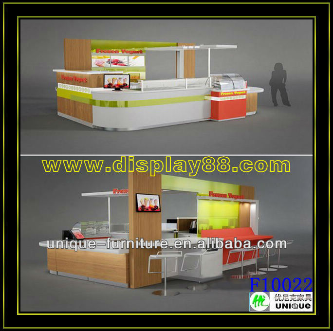 Hight quality food display kiosk,wooden ice cream cart for sale, shopping mall yogurt bar counter(factory sale)