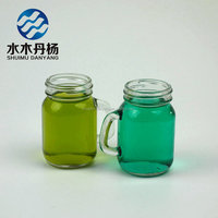 Beverage bottle mason jar drinking glass with handle