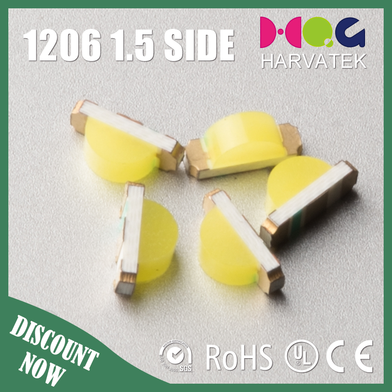 Super bright side view smd 1206 white emitting diode