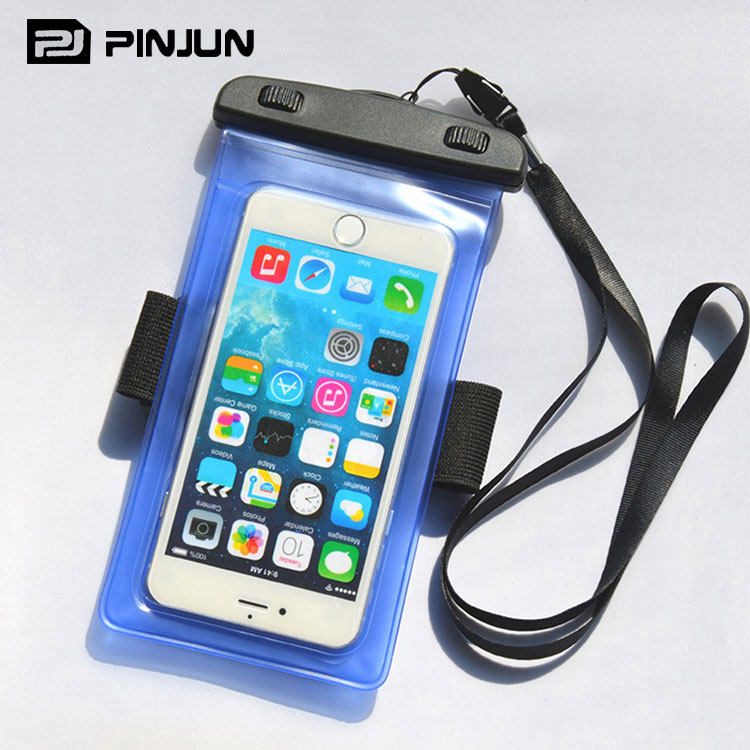 Swimming Sport universal pvc cell phone waterproof dry bag for iphone 7 with armband lanyard,snow proof cell phone carrying case