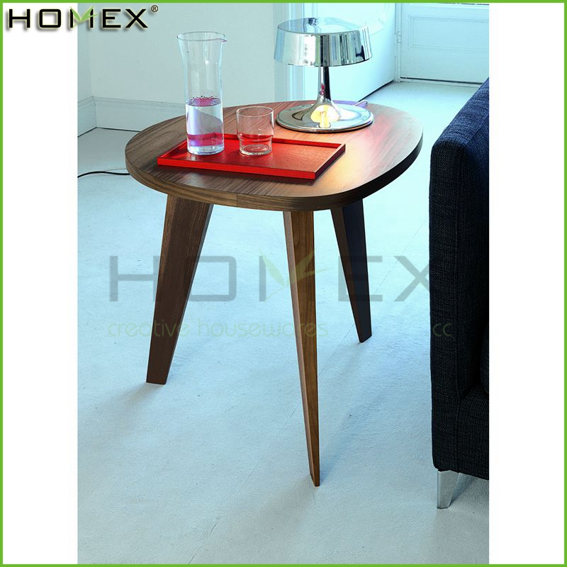 Wooden Tea Table with Three Leg/MDF Dining Round Table/Coffee End Table/Homex_BSCI