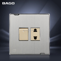 steel panel Pakistan style 16A 1+1 electrical wall switches socket