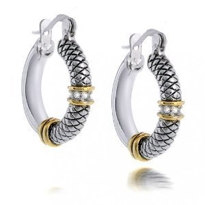 Jewelry Designer Inspired Two Tone Cable fashion Hoop Earrings
