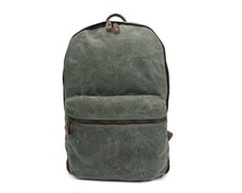 G-Favor YD-2259 Waxed Canvas with Crazy Horse Leather Bag Business Bag 14 Inch Laptop Bag School Backpack
