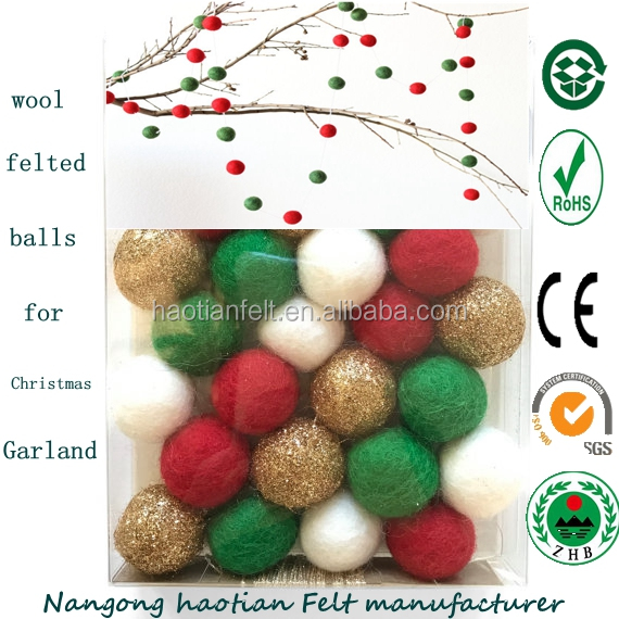 Christmas decoration garland wool felt ball Christmas tree, kids room indoor small order available