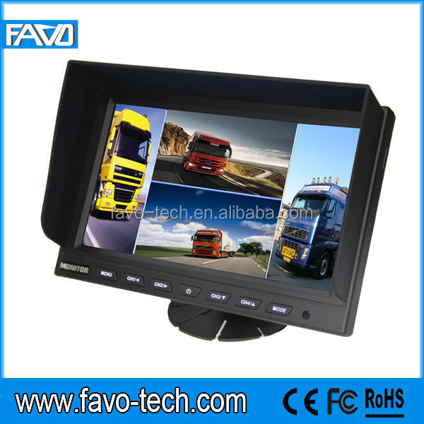 "DC12-24V Wide Screen 9"" Car Quad Split Monitor with 4 video input"
