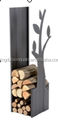 firewood rack with flower