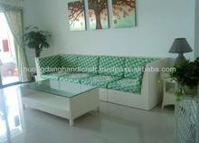 Hotel parlor PE rattan sofa set white rattan ribbons exquisite