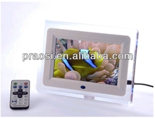 "7"" USB LCD Mini Digital Photo Picture Frame LED light 16MB memory white + Clock + SD/MMC"
