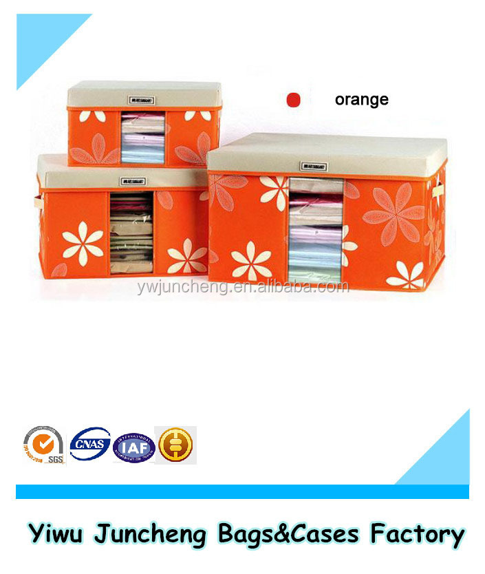 2015 New Floral Pattern High Quality Nonwoven Storage Box With Lid Front PVC Window
