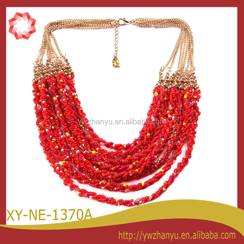 fashioncolors mini beads connected multil layers women necklace