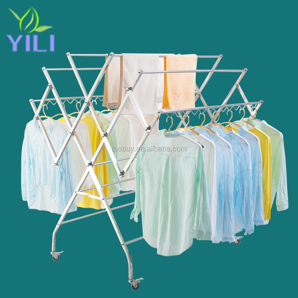 W shape Multifunctional Stainless Steel movable foldable Clothes Drying Rack Hanging Clothes airer lundry Rack