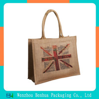 Custom burlap shopping heat transfer jute bag