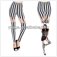 European And American Style Printed Stripe Cut Out Sexy Clubwear Leggings For Women
