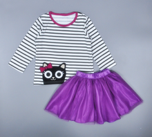 Cartoon kitty stripe long sleeve T-shirt and short skirt 2 piece set for 2-6 years