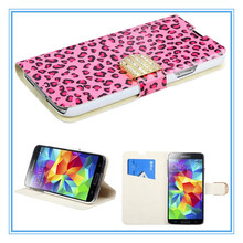 Guangzhou Mobile Phone Accessories, Mobile Cover Flip PU Leather Fashion Case for Samsung S5 i9600 Smart Phone Wallet Case